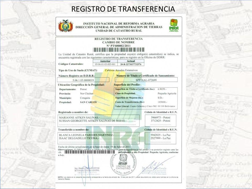 Solicitud de certificación Requerimiento de servicio – Certificado Catastral – Registro de la Transferencia – Registro Provisional – Propiedad No Rural – Otros Adjunta documentación correspondiente a la solicitud.