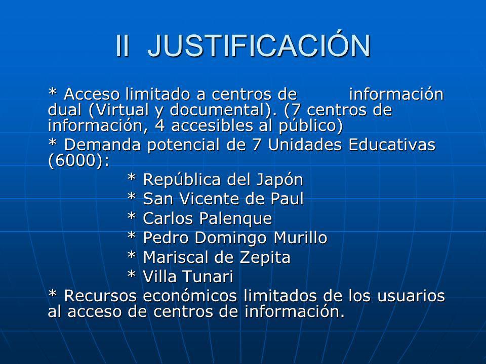 II JUSTIFICACIÓN * Acceso limitado a centros de información dual (Virtual y documental). (7 centros de información, 4 accesibles al público) * Demanda