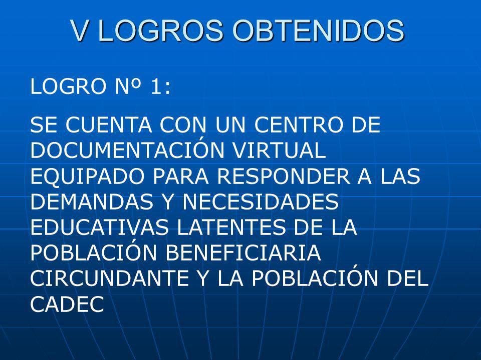V LOGROS OBTENIDOS LOGRO Nº 1: SE CUENTA CON UN CENTRO DE DOCUMENTACIÓN VIRTUAL EQUIPADO PARA RESPONDER A LAS DEMANDAS Y NECESIDADES EDUCATIVAS LATENTES DE LA POBLACIÓN BENEFICIARIA CIRCUNDANTE Y LA POBLACIÓN DEL CADEC