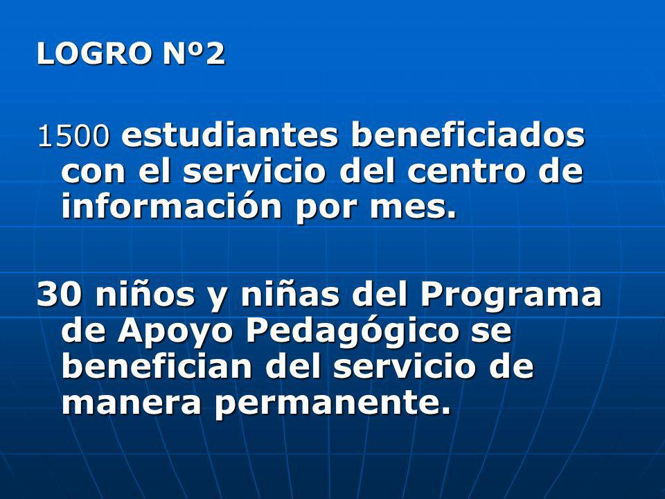 LOGRO Nº2 1500 estudiantes beneficiados con el servicio del centro de información por mes. 30 niños y niñas del Programa de Apoyo Pedagógico se benefi