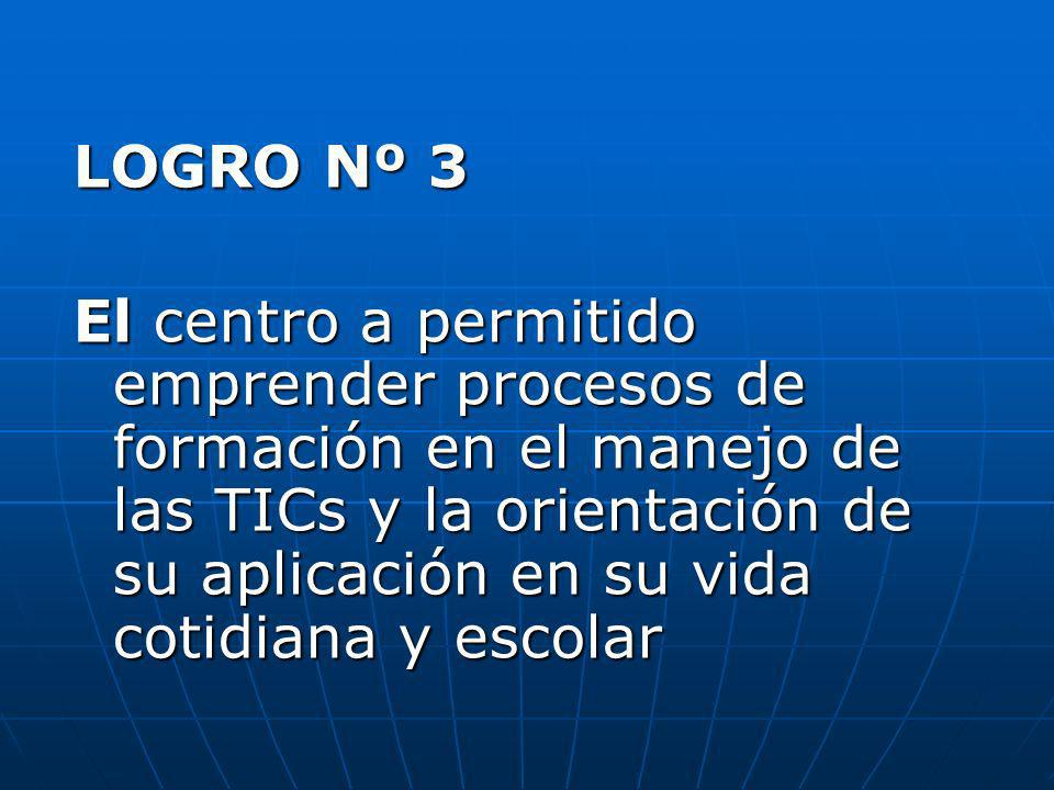 LOGRO Nº 3 El centro a permitido emprender procesos de formación en el manejo de las TICs y la orientación de su aplicación en su vida cotidiana y esc
