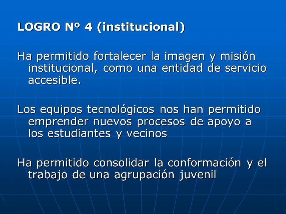 LOGRO Nº 4 (institucional) Ha permitido fortalecer la imagen y misión institucional, como una entidad de servicio accesible. Los equipos tecnológicos