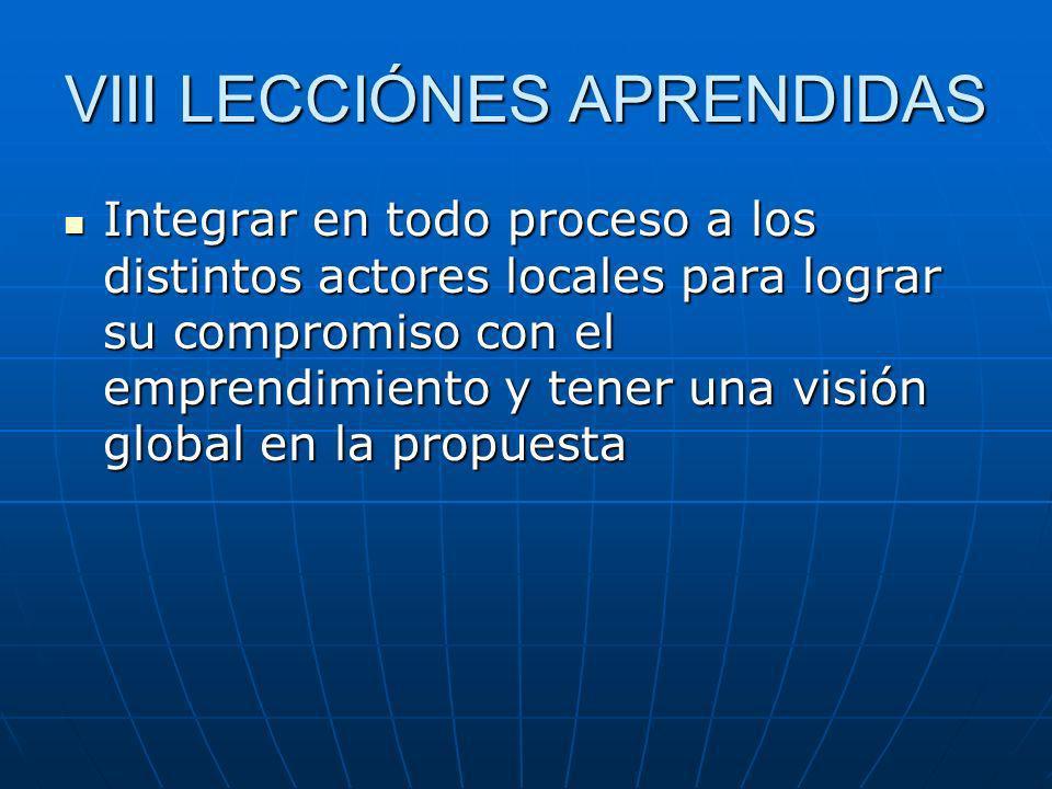 VIII LECCIÓNES APRENDIDAS Integrar en todo proceso a los distintos actores locales para lograr su compromiso con el emprendimiento y tener una visión global en la propuesta Integrar en todo proceso a los distintos actores locales para lograr su compromiso con el emprendimiento y tener una visión global en la propuesta