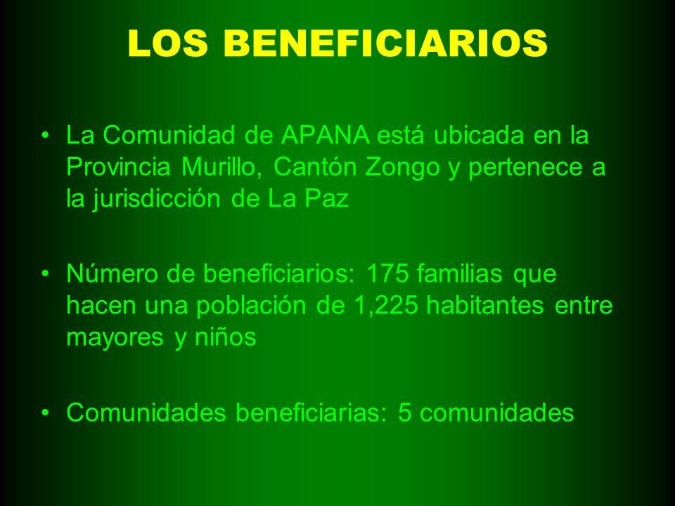 LOS BENEFICIARIOS La Comunidad de APANA está ubicada en la Provincia Murillo, Cantón Zongo y pertenece a la jurisdicción de La Paz Número de beneficia