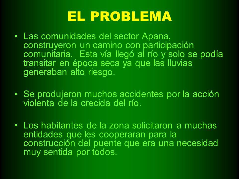 EL PROBLEMA Las comunidades del sector Apana, construyeron un camino con participación comunitaria. Esta vía llegó al río y solo se podía transitar en