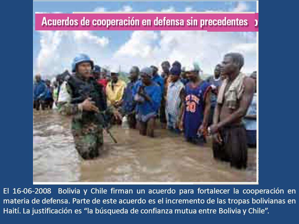 El 16-06-2008 Bolivia y Chile firman un acuerdo para fortalecer la cooperación en materia de defensa. Parte de este acuerdo es el incremento de las tr