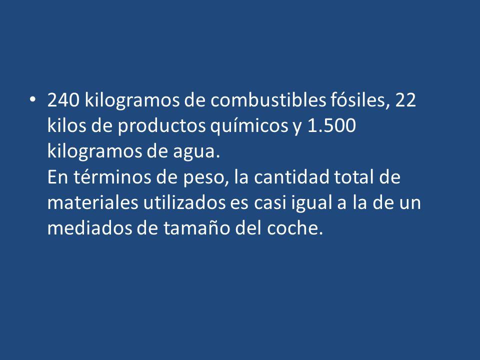 240 kilogramos de combustibles fósiles, 22 kilos de productos químicos y 1.500 kilogramos de agua. En términos de peso, la cantidad total de materiale