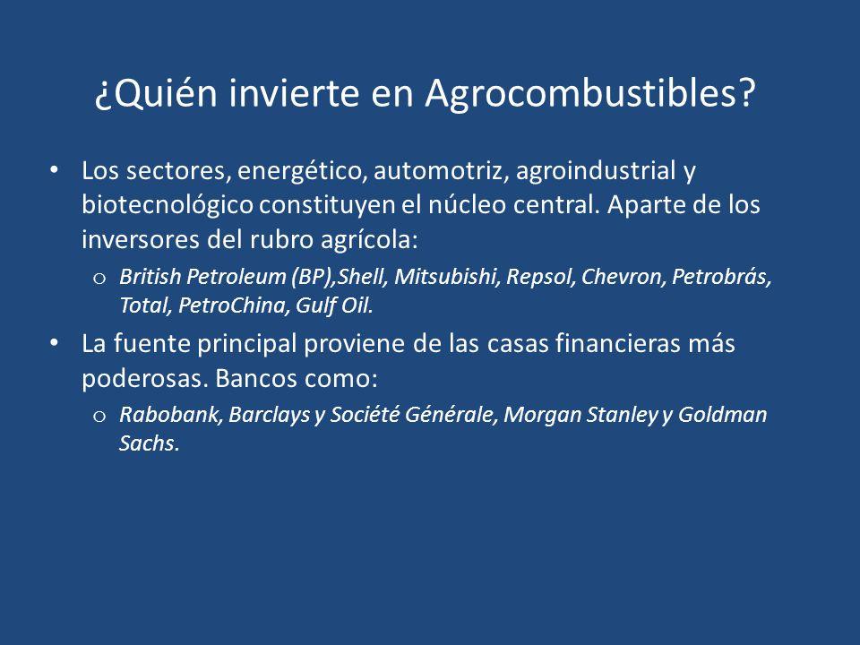 ¿Quién invierte en Agrocombustibles? Los sectores, energético, automotriz, agroindustrial y biotecnológico constituyen el núcleo central. Aparte de lo