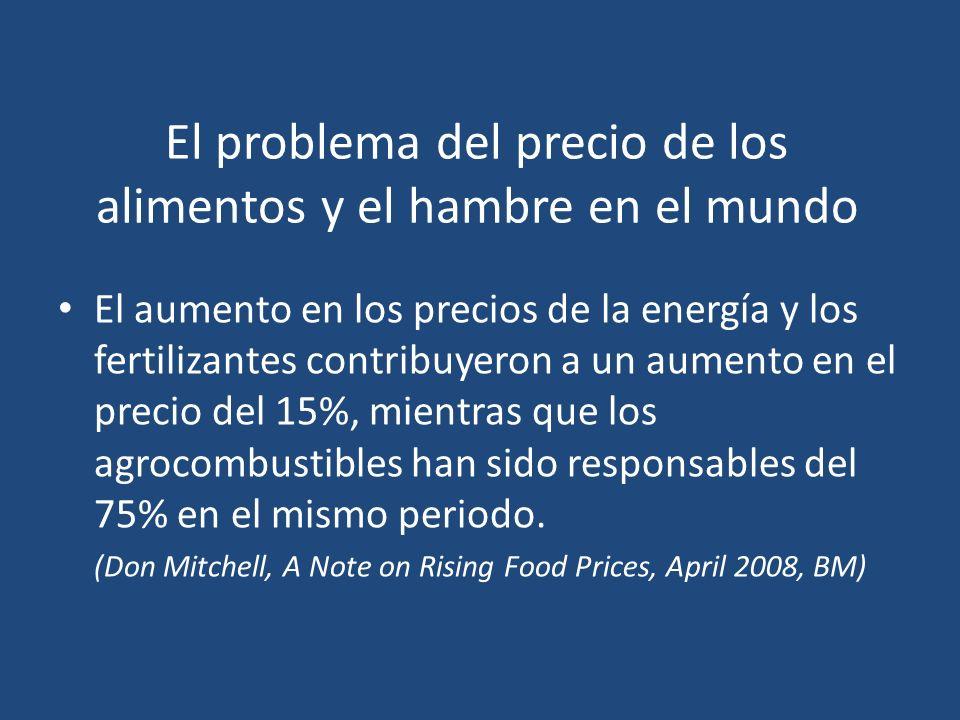 El problema del precio de los alimentos y el hambre en el mundo El aumento en los precios de la energía y los fertilizantes contribuyeron a un aumento