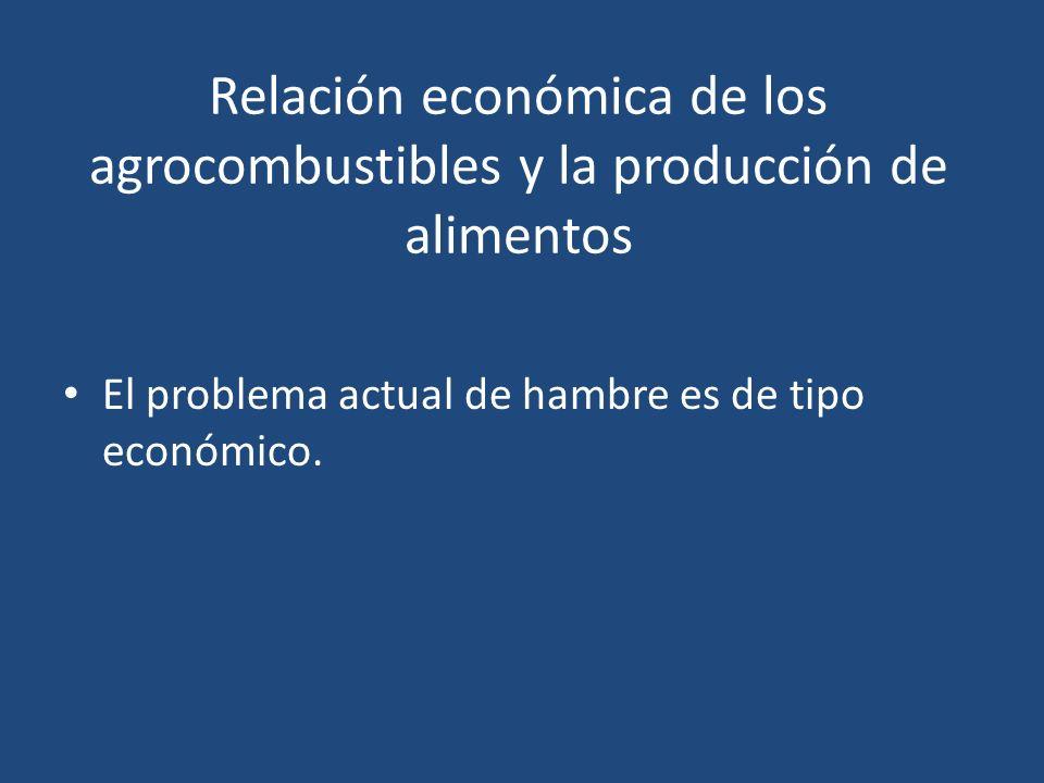 Relación económica de los agrocombustibles y la producción de alimentos El problema actual de hambre es de tipo económico.