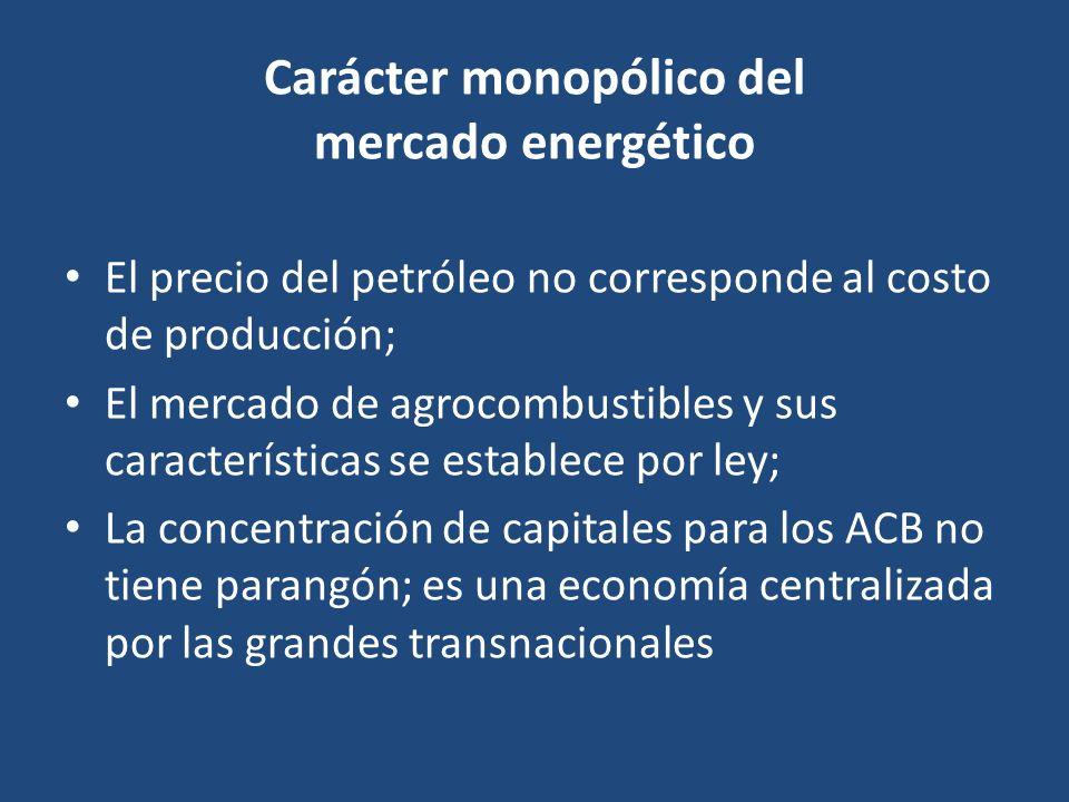 Carácter monopólico del mercado energético El precio del petróleo no corresponde al costo de producción; El mercado de agrocombustibles y sus caracter