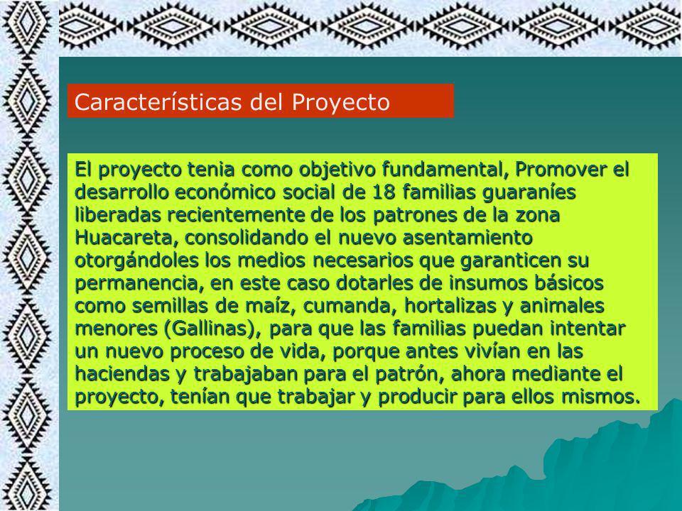 Características del Proyecto El proyecto tenia como objetivo fundamental, Promover el desarrollo económico social de 18 familias guaraníes liberadas r