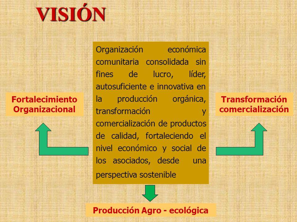 Organización económica comunitaria consolidada sin fines de lucro, líder, autosuficiente e innovativa en la producción orgánica, transformación y come