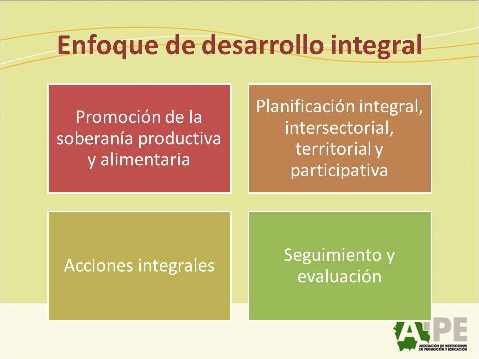 Enfoque de desarrollo integral Promoción de la soberanía productiva y alimentaria Planificación integral, intersectorial, territorial y participativa
