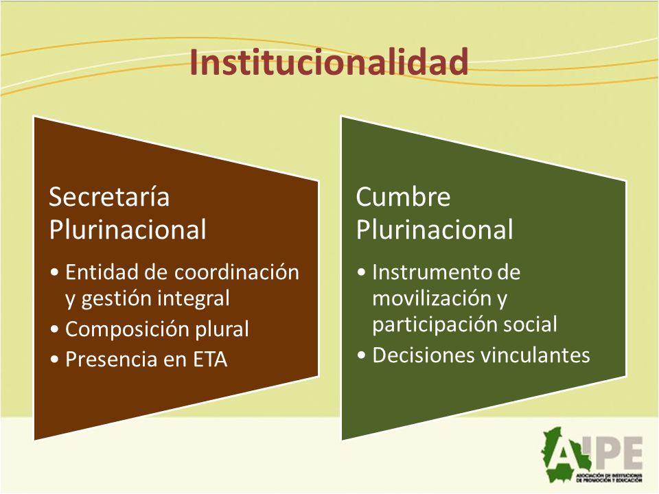 Institucionalidad Secretaría Plurinacional Entidad de coordinación y gestión integral Composición plural Presencia en ETA Cumbre Plurinacional Instrum