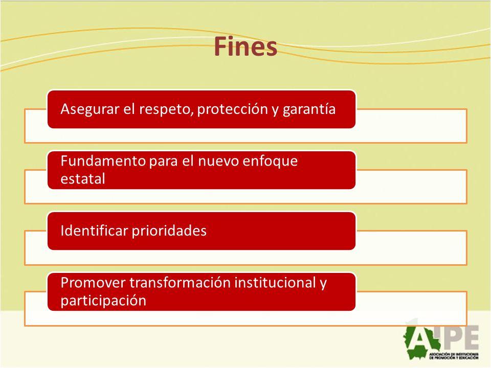 Fines Asegurar el respeto, protección y garantía Fundamento para el nuevo enfoque estatal Identificar prioridades Promover transformación instituciona