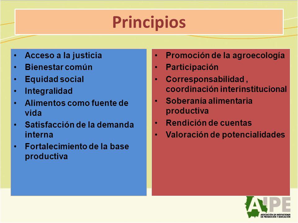 Principios Acceso a la justicia Bienestar común Equidad social Integralidad Alimentos como fuente de vida Satisfacción de la demanda interna Fortaleci