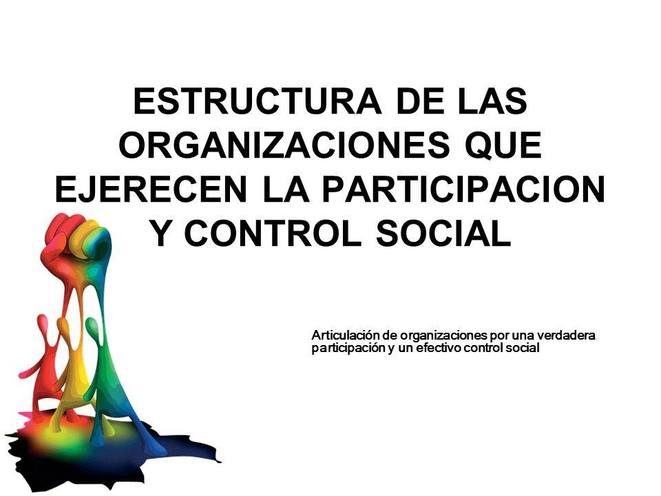 ESTRUCTURA DE LAS ORGANIZACIONES QUE EJERECEN LA PARTICIPACION Y CONTROL SOCIAL Articulación de organizaciones por una verdadera participación y un ef