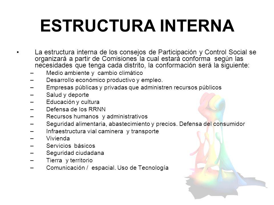 ESTRUCTURA INTERNA La estructura interna de los consejos de Participación y Control Social se organizará a partir de Comisiones la cual estará conform