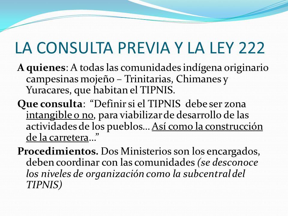 LA CONSULTA PREVIA Y LA LEY 222 A quienes: A todas las comunidades indígena originario campesinas mojeño – Trinitarias, Chimanes y Yuracares, que habi