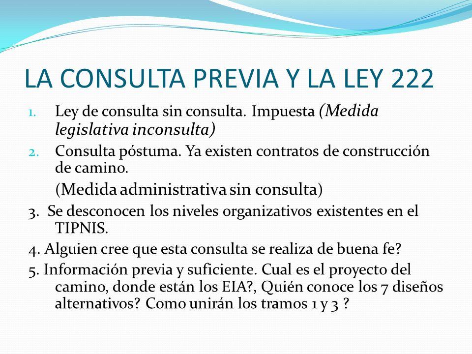LA CONSULTA PREVIA Y LA LEY 222 1. Ley de consulta sin consulta. Impuesta (Medida legislativa inconsulta) 2. Consulta póstuma. Ya existen contratos de