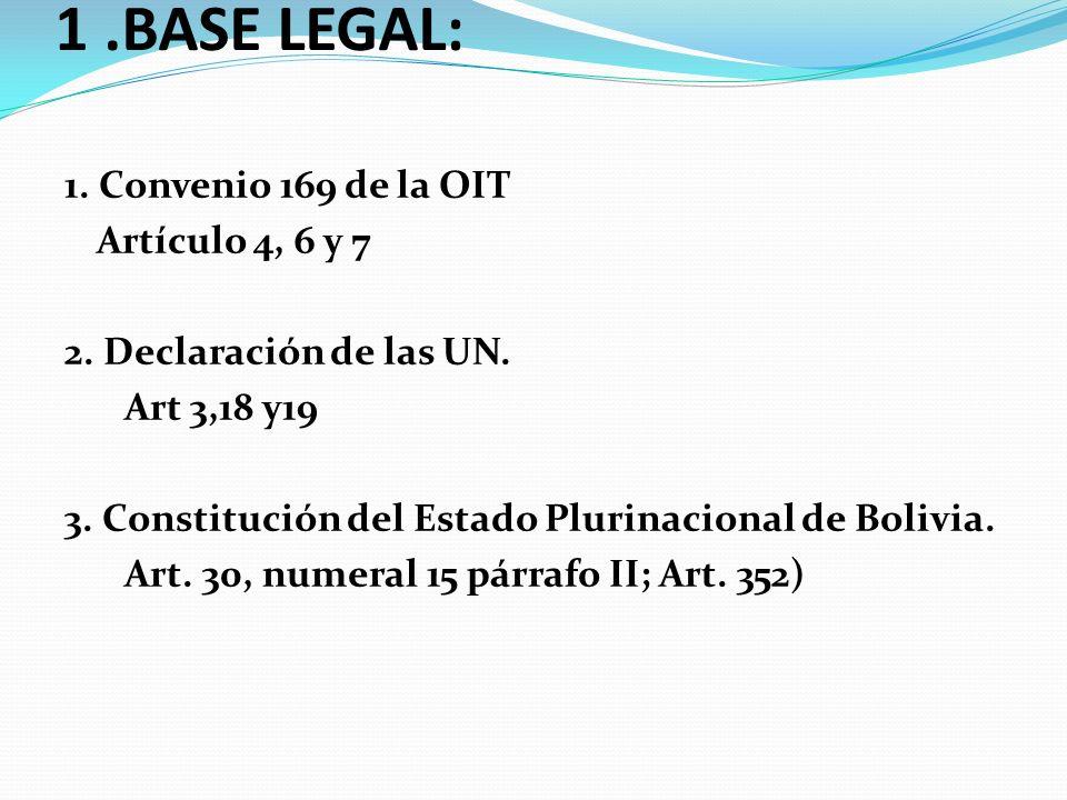 LA CONSULTA PREVIA, LIBRE E INFORMADA 1.BASE LEGAL: 1. Convenio 169 de la OIT Artículo 4, 6 y 7 2. Declaración de las UN. Art 3,18 y19 3. Constitución