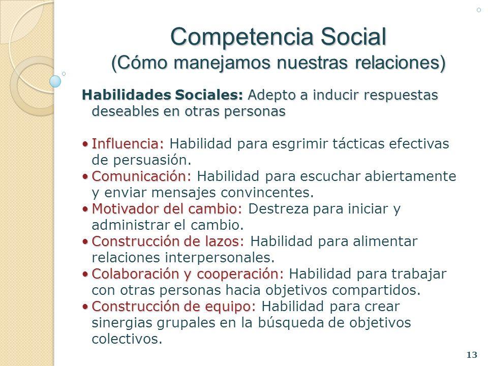 13 Habilidades Sociales: Adepto a inducir respuestas deseables en otras personas Influencia:Influencia: Habilidad para esgrimir tácticas efectivas de