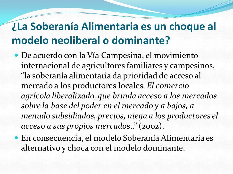 ¿La Soberanía Alimentaria es un choque al modelo neoliberal o dominante? De acuerdo con la Vía Campesina, el movimiento internacional de agricultores