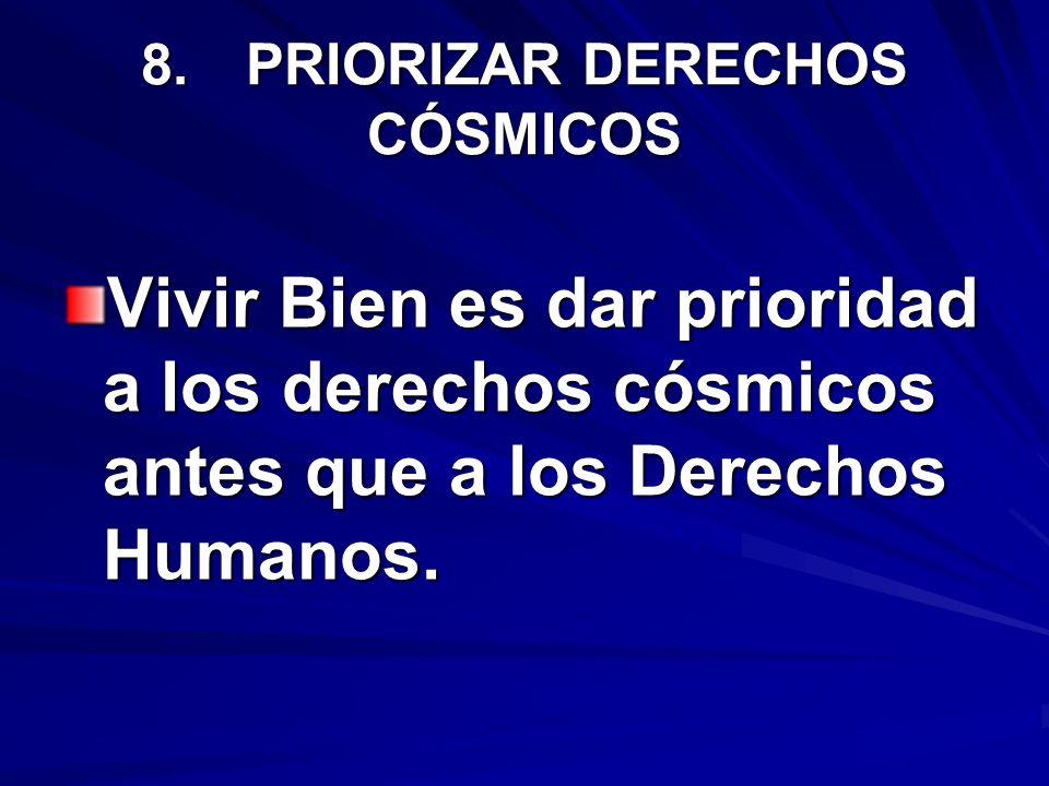 8.PRIORIZAR DERECHOS CÓSMICOS Vivir Bien es dar prioridad a los derechos cósmicos antes que a los Derechos Humanos.
