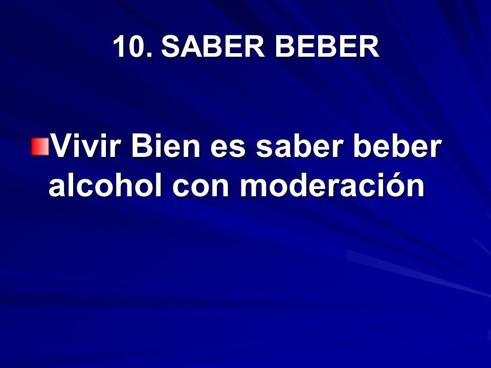10.SABER BEBER Vivir Bien es saber beber alcohol con moderación