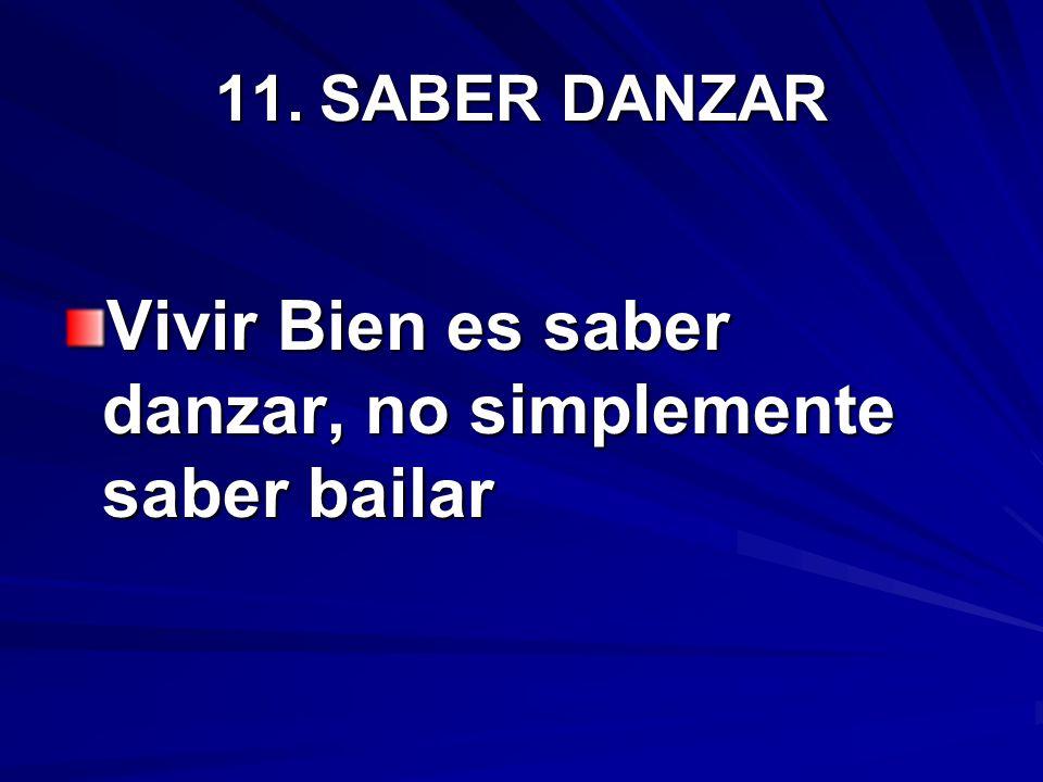 11.SABER DANZAR Vivir Bien es saber danzar, no simplemente saber bailar