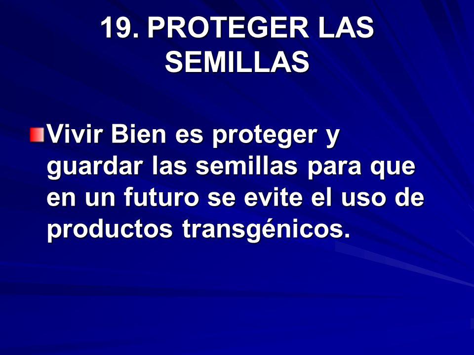 19.PROTEGER LAS SEMILLAS Vivir Bien es proteger y guardar las semillas para que en un futuro se evite el uso de productos transgénicos.