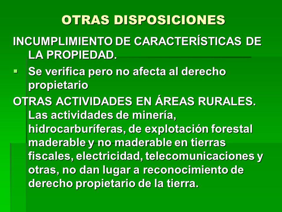 OTRAS DISPOSICIONES INCUMPLIMIENTO DE CARACTERÍSTICAS DE LA PROPIEDAD. Se verifica pero no afecta al derecho propietario Se verifica pero no afecta al
