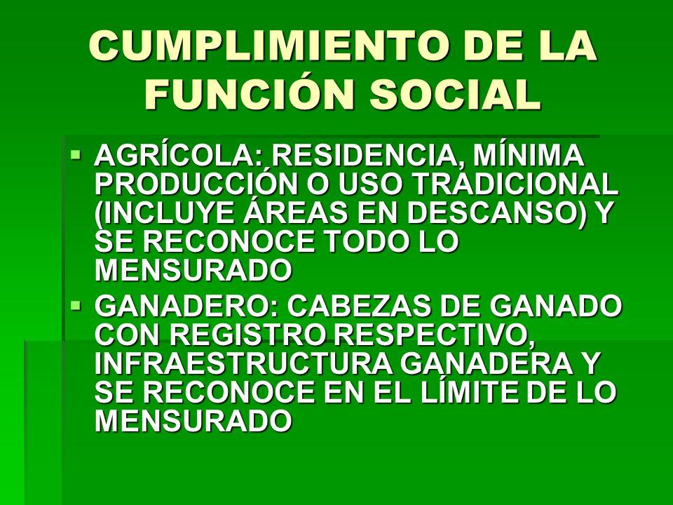 CUMPLIMIENTO DE LA FUNCIÓN SOCIAL AGRÍCOLA: RESIDENCIA, MÍNIMA PRODUCCIÓN O USO TRADICIONAL (INCLUYE ÁREAS EN DESCANSO) Y SE RECONOCE TODO LO MENSURAD