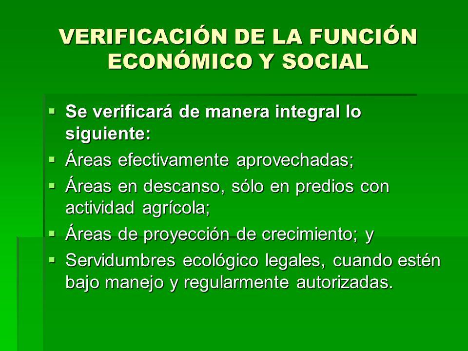 VERIFICACIÓN DE LA FUNCIÓN ECONÓMICO Y SOCIAL Se verificará de manera integral lo siguiente: Se verificará de manera integral lo siguiente: Áreas efec