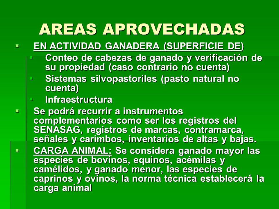 AREAS APROVECHADAS EN ACTIVIDAD GANADERA (SUPERFICIE DE) EN ACTIVIDAD GANADERA (SUPERFICIE DE) Conteo de cabezas de ganado y verificación de su propie