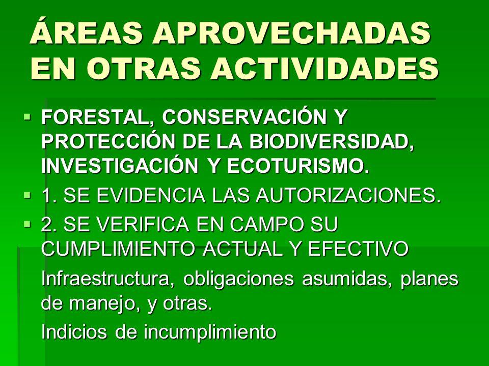 ÁREAS APROVECHADAS EN OTRAS ACTIVIDADES FORESTAL, CONSERVACIÓN Y PROTECCIÓN DE LA BIODIVERSIDAD, INVESTIGACIÓN Y ECOTURISMO. FORESTAL, CONSERVACIÓN Y