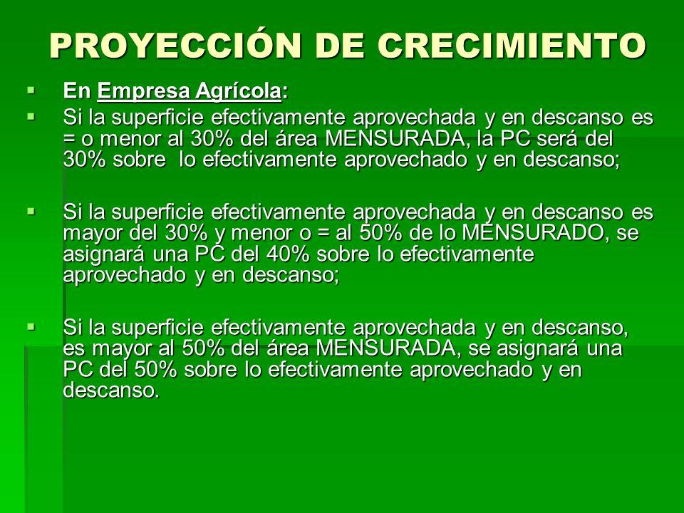PROYECCIÓN DE CRECIMIENTO En Empresa Agrícola: En Empresa Agrícola: Si la superficie efectivamente aprovechada y en descanso es = o menor al 30% del á