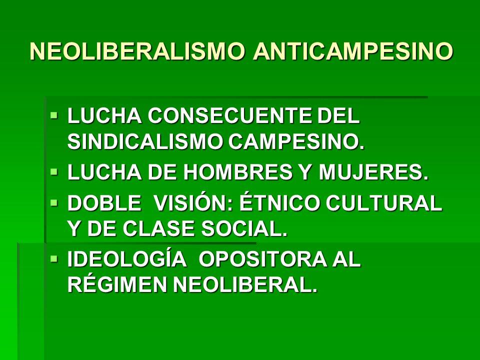 NEOLIBERALISMO ANTICAMPESINO LUCHA CONSECUENTE DEL SINDICALISMO CAMPESINO. LUCHA CONSECUENTE DEL SINDICALISMO CAMPESINO. LUCHA DE HOMBRES Y MUJERES. L