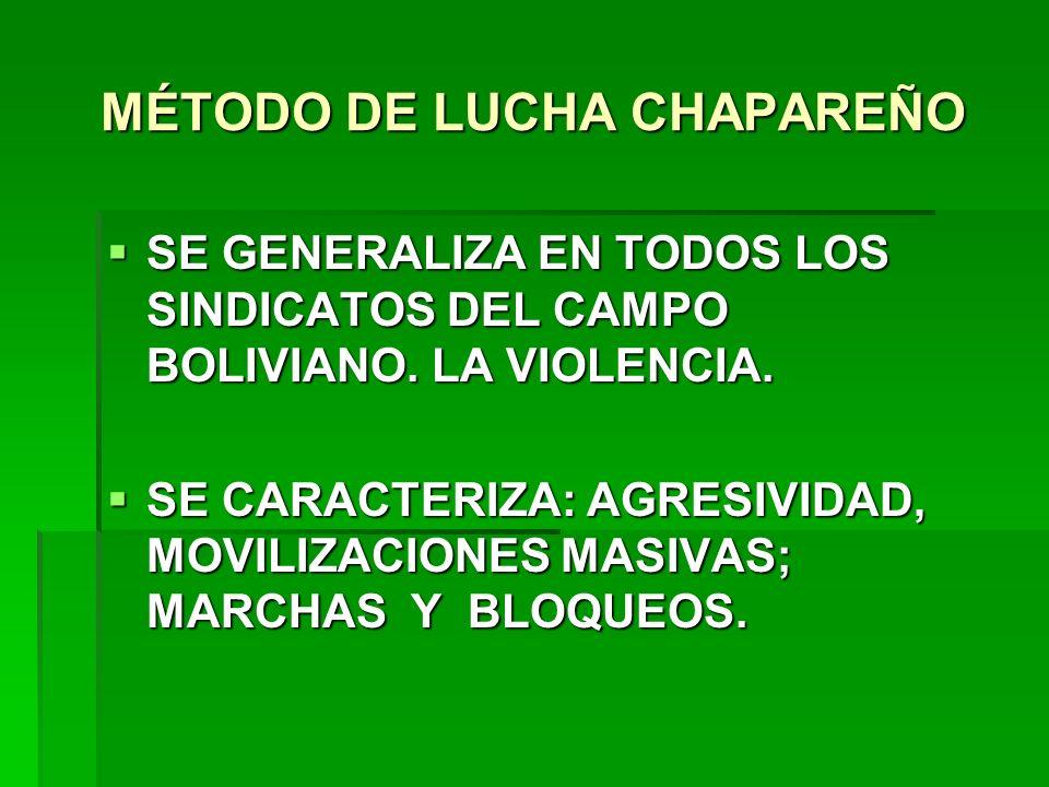 MÉTODO DE LUCHA CHAPAREÑO SE GENERALIZA EN TODOS LOS SINDICATOS DEL CAMPO BOLIVIANO. LA VIOLENCIA. SE GENERALIZA EN TODOS LOS SINDICATOS DEL CAMPO BOL