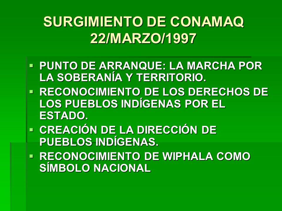 SURGIMIENTO DE CONAMAQ 22/MARZO/1997 PUNTO DE ARRANQUE: LA MARCHA POR LA SOBERANÍA Y TERRITORIO. PUNTO DE ARRANQUE: LA MARCHA POR LA SOBERANÍA Y TERRI