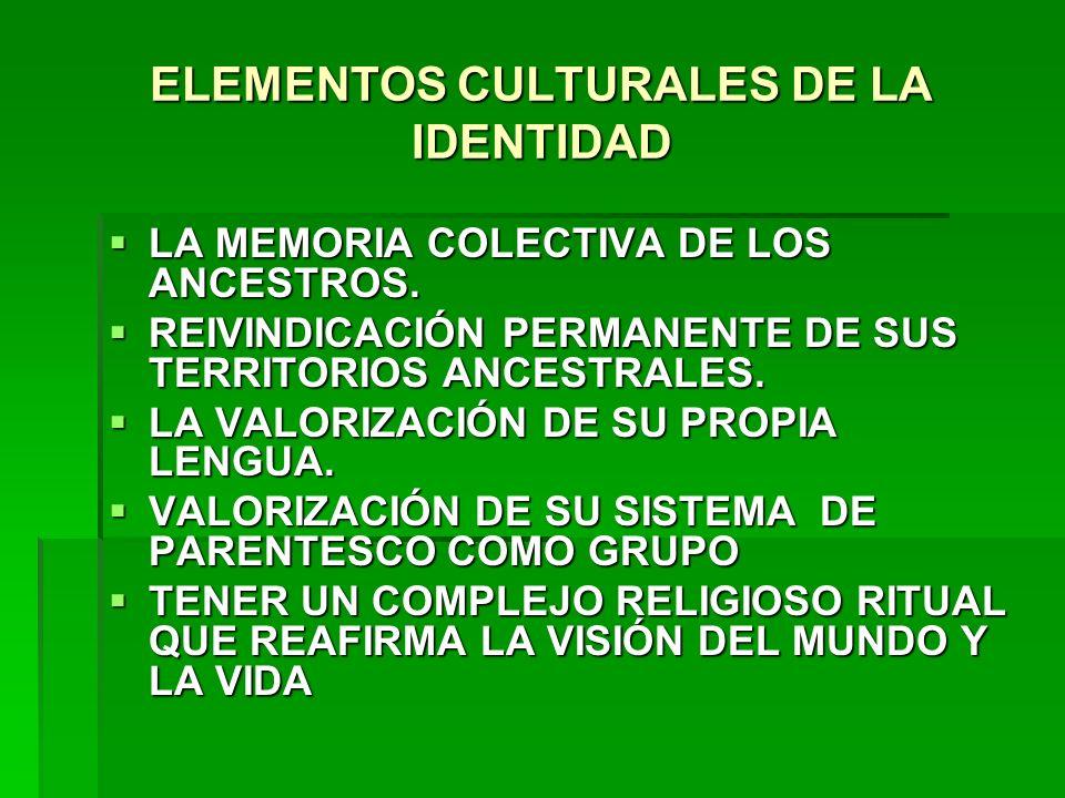 ELEMENTOS CULTURALES DE LA IDENTIDAD LA MEMORIA COLECTIVA DE LOS ANCESTROS. LA MEMORIA COLECTIVA DE LOS ANCESTROS. REIVINDICACIÓN PERMANENTE DE SUS TE