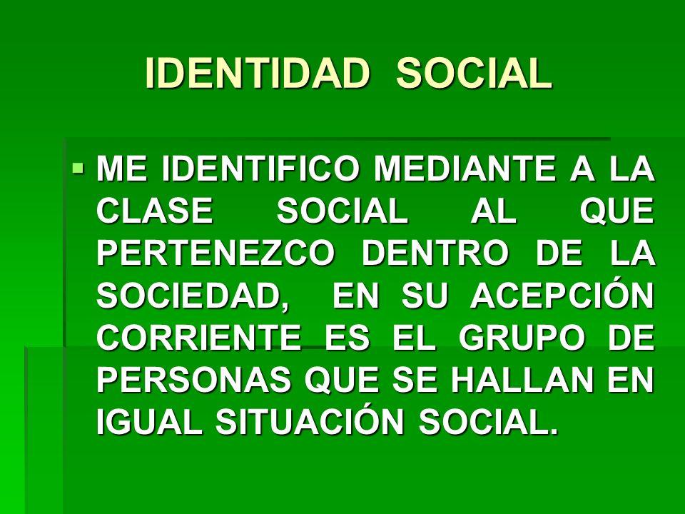 IDENTIDAD SOCIAL ME IDENTIFICO MEDIANTE A LA CLASE SOCIAL AL QUE PERTENEZCO DENTRO DE LA SOCIEDAD, EN SU ACEPCIÓN CORRIENTE ES EL GRUPO DE PERSONAS QU