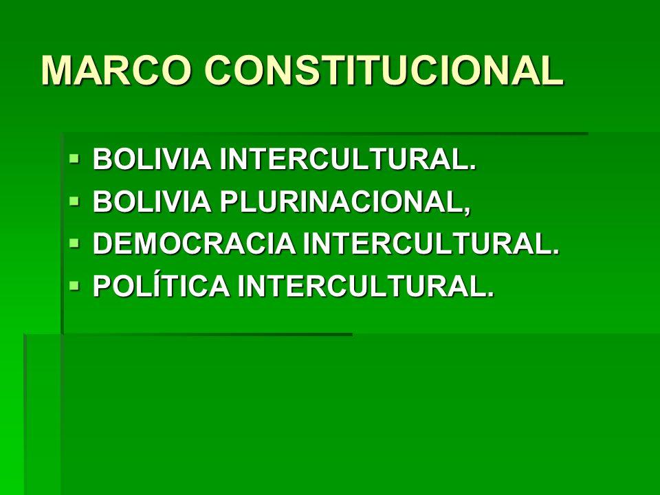 MARCO CONSTITUCIONAL BOLIVIA INTERCULTURAL. BOLIVIA INTERCULTURAL. BOLIVIA PLURINACIONAL, BOLIVIA PLURINACIONAL, DEMOCRACIA INTERCULTURAL. DEMOCRACIA