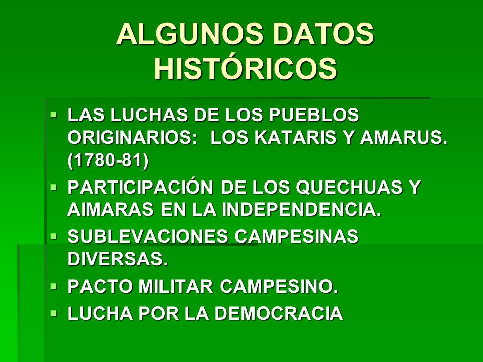 ALGUNOS DATOS HISTÓRICOS LAS LUCHAS DE LOS PUEBLOS ORIGINARIOS: LOS KATARIS Y AMARUS. (1780-81) LAS LUCHAS DE LOS PUEBLOS ORIGINARIOS: LOS KATARIS Y A