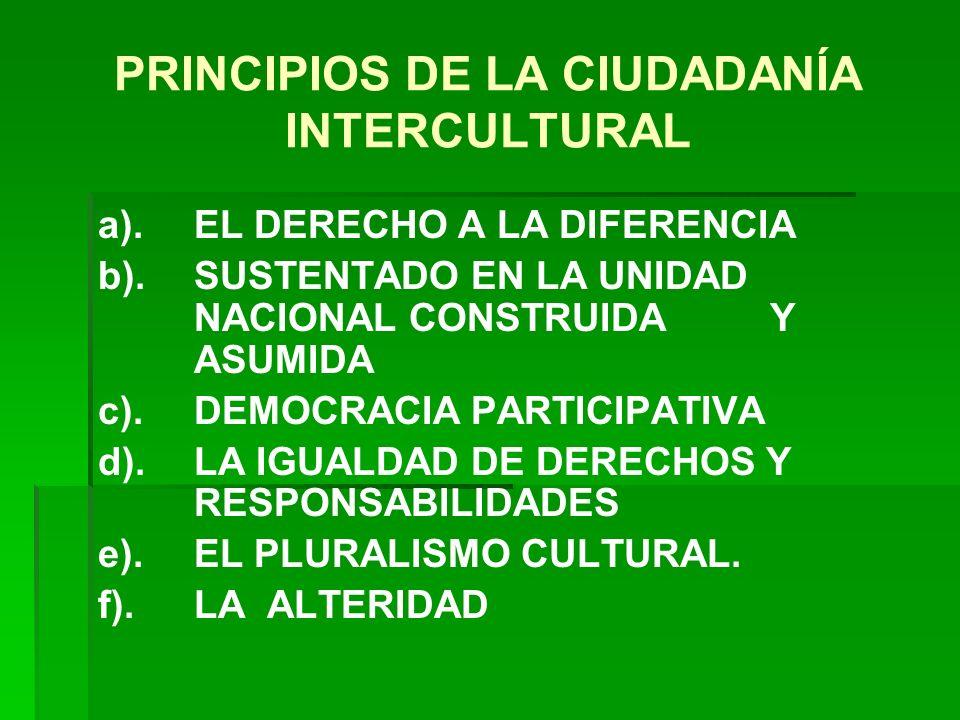 PRINCIPIOS DE LA CIUDADANÍA INTERCULTURAL a).EL DERECHO A LA DIFERENCIA b).SUSTENTADO EN LA UNIDAD NACIONAL CONSTRUIDA Y ASUMIDA c).DEMOCRACIA PARTICI