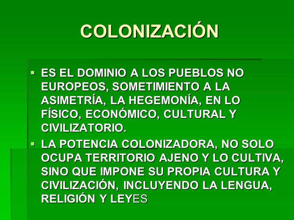 COLONIZACIÓN ES EL DOMINIO A LOS PUEBLOS NO EUROPEOS, SOMETIMIENTO A LA ASIMETRÍA, LA HEGEMONÍA, EN LO FÍSICO, ECONÓMICO, CULTURAL Y CIVILIZATORIO. ES