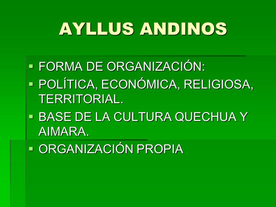 AYLLUS ANDINOS AYLLUS ANDINOS FORMA DE ORGANIZACIÓN: FORMA DE ORGANIZACIÓN: POLÍTICA, ECONÓMICA, RELIGIOSA, TERRITORIAL. POLÍTICA, ECONÓMICA, RELIGIOS