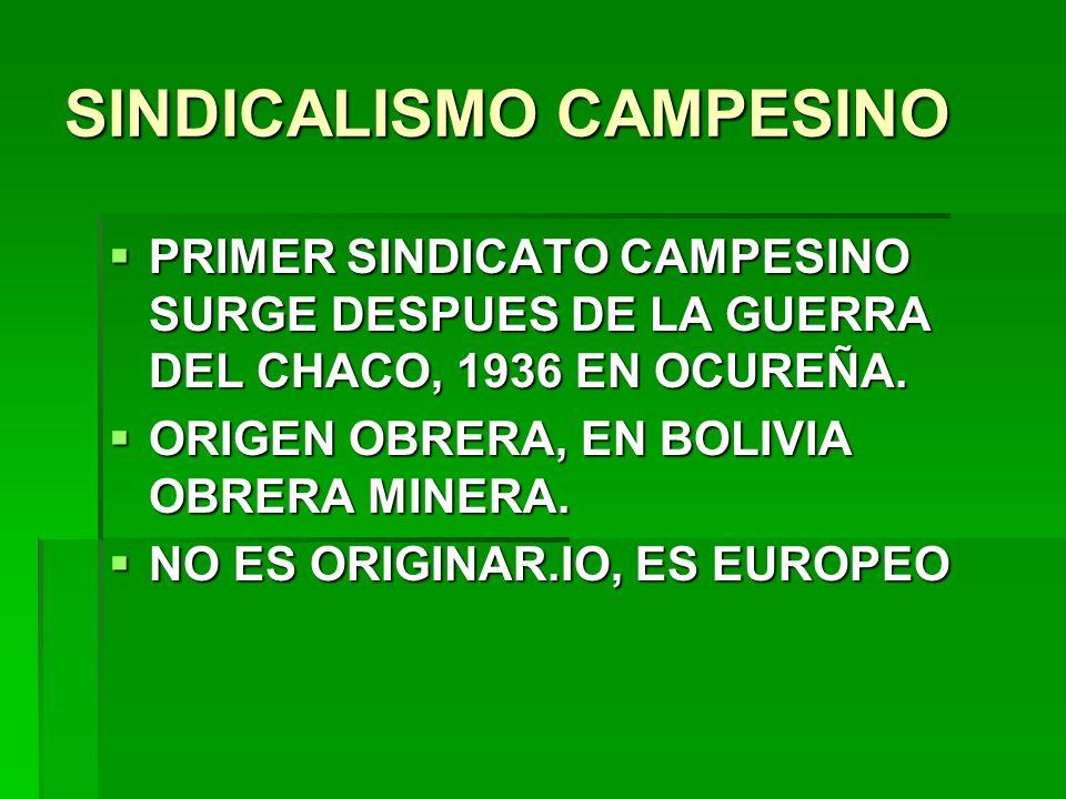 SINDICALISMO CAMPESINO PRIMER SINDICATO CAMPESINO SURGE DESPUES DE LA GUERRA DEL CHACO, 1936 EN OCUREÑA. PRIMER SINDICATO CAMPESINO SURGE DESPUES DE L