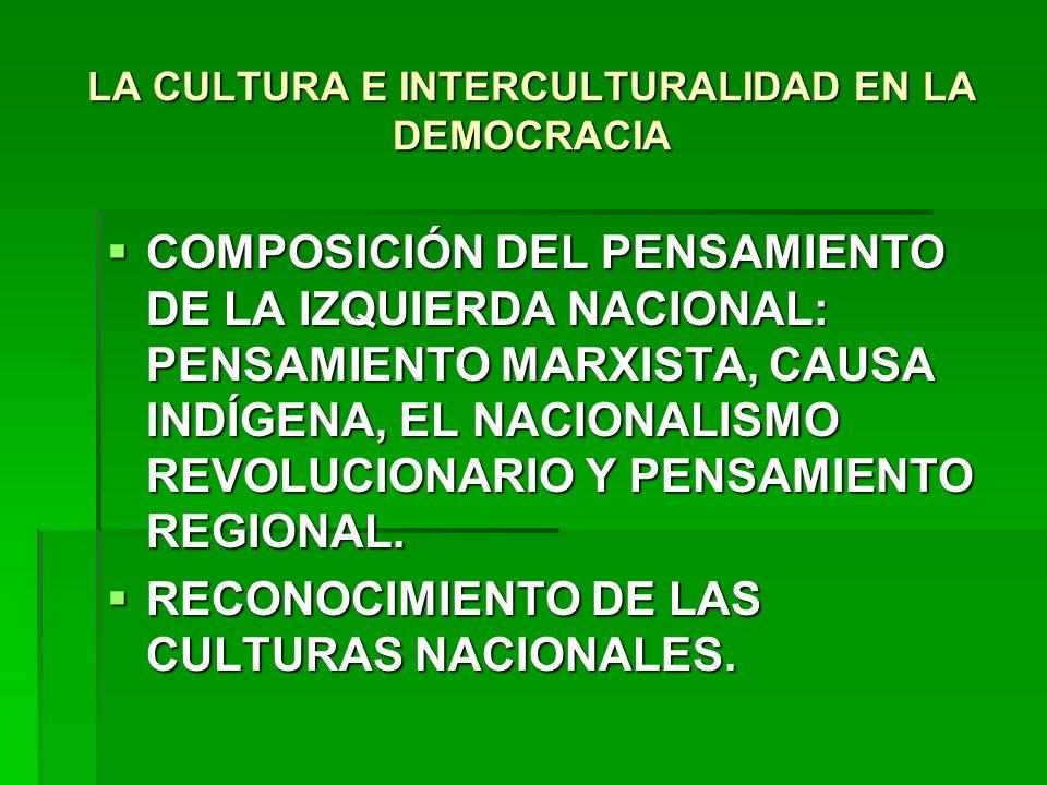 LA CULTURA E INTERCULTURALIDAD EN LA DEMOCRACIA COMPOSICIÓN DEL PENSAMIENTO DE LA IZQUIERDA NACIONAL: PENSAMIENTO MARXISTA, CAUSA INDÍGENA, EL NACIONA